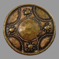 Antique c year 1900 Traditional Scandinavian Copper Shield Brooch.