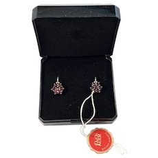 RoBi, Germany c 1960s Sterling Silver Bohemian Garnet Earrings. New Old Stock