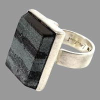 Lennart Haglund, Stockholm 1966. Sterling Silver Ore Ring. Signed