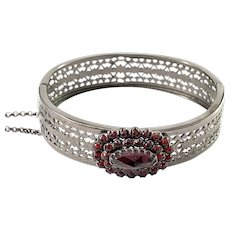 Mid Century Bohemian Garnet Metal Open Close Bangle Bracelet.