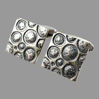 Martti Viikinniemi, Finland year 1970. Large Moon Surface Solid Silver Cufflinks.
