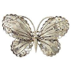 Folmere, Denmark. Mid Century Sterling Filigree Silver Butterfly Brooch