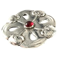 SL Jacobsen & Co, Copenhagen 1910-17 Art Nouveau Skonvirke 830 Silver Paste Brooch