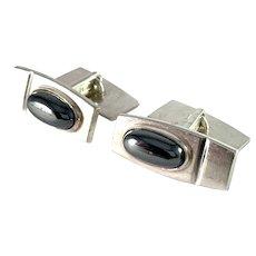 Elis Kauppi, Kupittaan Kulta Finland 1962 Solid Silver Onyx Cufflinks