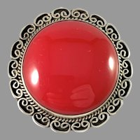 Mexico, Vintage c 1950s Sterling Silver Red Stone Brooch Pendant. Maker's Mark.