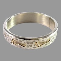 Lasse Dahlstedt, Finland. Vintage Foot Prints in the Sand Sterling Silver Ring.