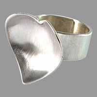 Peter von Post, Stockholm 1974. Sterling Silver Heart Ring. Signed