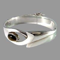 Sigi Pineda, Taxco Mexico Massive Mid Century Modern Sterling Silver Tiger Eye Bracelet.