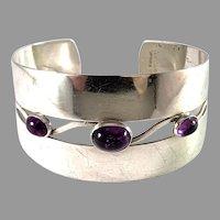 Arvo Saarela, Sweden year 1960. Sterling Silver Amethyst Cuff Bracelet.