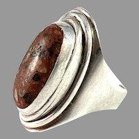 Børge V Printzen Hejlund, Denmark 1964-73 Sterling Silver Hardstone Ring.