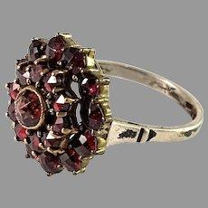 Mid Century Solid Silver Bohemian Garnet Cluster Ring.