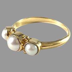 Georg Jensen, Denmark. Vintage 18k Gold Cultured Pearl Ring.