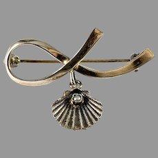 Anton Michelsen, Copenhagen, Mid Century Sterling Silver Seed Pearl Brooch.