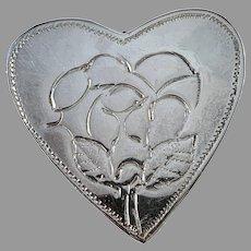Maker EK, Sweden. Vintage Sterling Silver Heart Flower Pendant.