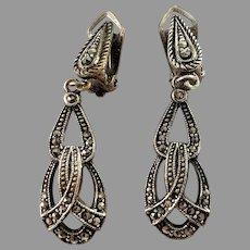 Art Deco 1930s White Metal Marcasite Clip-on Earrings.
