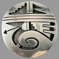 Maker EE, Native American Sterling Silver Brooch