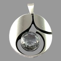 Karl Laine for Finn Feelings, Finland Vintage Large Sterling Silver Rock Crystal Pendant.