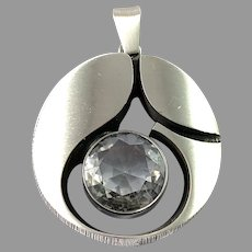 Karl Laine for Finn Feelings, Finland Vintage Large Sterling Silver Rock Crystal Pendant.