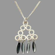 Martti Viikinniemi, Finland 1960s Solid Silver Pendant Necklace.