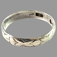 Holmström, Sweden 1943. Vintage Sterling Silver Wedding Band Ring.