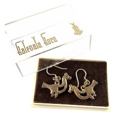 Kalevala Koru, Finland 1970s. Vintage Bronze Silver Earrings. Boxed.