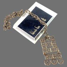 Kalevala Koru, Finland. Vintage 1970s. Bronze Pendant Necklace. Boxed.