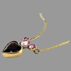 Vintage Mid Century 835 Silver Bohemian Garnet Quartz Necklace