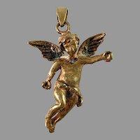 Vintage c 1970s Bronze Putti Angel Pendant.