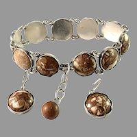 Häggström, Sweden year 1957. Sterling Silver Limestone Bracelet and Earrings