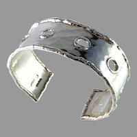 Nordisk Kokusai, Sweden 1974-79 Bold modernist Sterling Silver Cuff Bracelet.