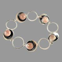 Niels Erik From, Denmark 1950-60s Sterling Silver Rose Quartz Bracelet.