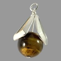 Swedish Import c 1960s Sterling Silver Tiger Eye Pendant.
