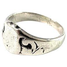 E. Kortehisto, Finland year 1941 (WW2-era). Solid Silver Signet Ring.
