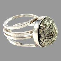 Stenlya, Sweden year 1977 Sterling Silver Pyrite Ring.