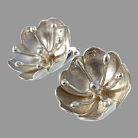 Peter Von Post, Stockholm 1970s. Sterling Silver Large Flower Earrings.