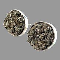 Stenlya, Stockholm. Vintage Sterling Silver Pyrite Large Stud Earrings.