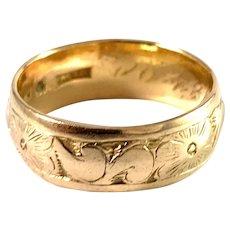Sweden year 1898 Antique Creamy 20k Gold Wedding Band Ring.