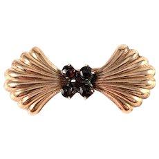 Vintage Mid Century Bohemian Garnet Gilt Metal Brooch.