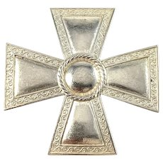 Sporrong Sweden 1943. Solid Silver WW2-Era Nurse Cross Badge Brooch.
