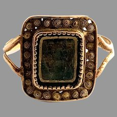 P A Thomason, Sweden 1845. Antique Reversed Painted Glass Ring.