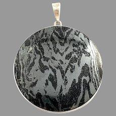 Stenlya, Sweden 1969. Large Sterling Silver Iron Ore Pendant.