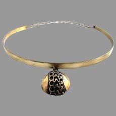 Pentti Sarpaneva Finland 1970s Vintage Bronze Necklace.