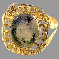 P A Thomason, Sweden 1849. Antique Reversed Painted Glass Ring.