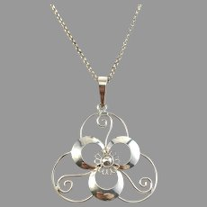 Germany / Austria 1930-40s Solid 835 Silver Pendant Necklace.