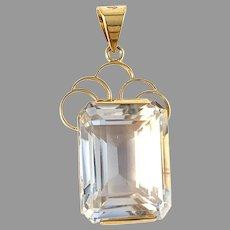 D Ekström, Sweden 1959. Mid Century 18k Gold Rock Crystal Pendant.