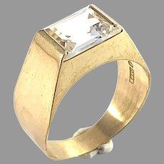 Ceson, Sweden year 1969. Modernist 18k Gold Rock Crystal Ring.