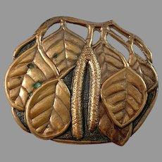 Very Large Art Nouveau c 1910 Copper Brooch.