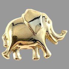 Vintage 18k Gold Elephant Brooch Pin.