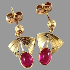 Guldvaruhuset, Sweden year 1961. Vintage 18k Gold Synthetic Pink Sapphire Earrings.