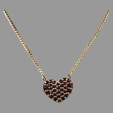 Vintage Mid Century Gilt Sterling Silver Bohemian Garnet Heart Pendant Necklace.